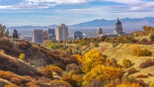 Fall Colors On A Hill Overlooking Salt Lake City
