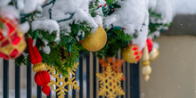 Festive Snow Covered Garland O...