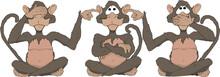 See No Evil Cartoon Vector Ill...