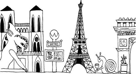 Hand-drawn Paris France cityscape black and white