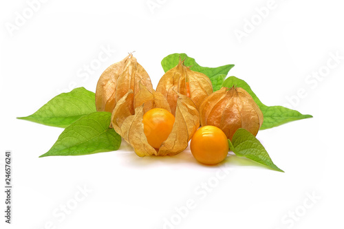 Fotografering  Cape Gooseberry (Physalis peruviana) with green leaves , isolated on white background