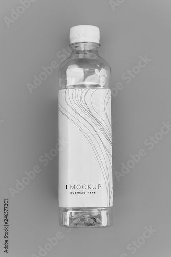 Design space on a water bottle label mockup