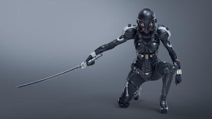 Science fiction cyborg fema...