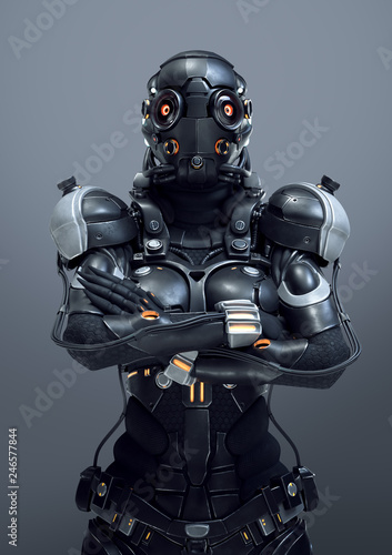 Science fiction cyborg female standing with arms crossed on her chest Wallpaper Mural