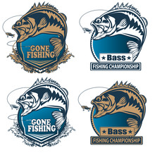 Fishing Bass Logo. Bass Fish W...