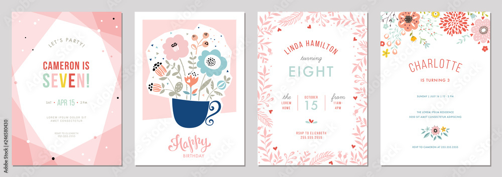 Fototapety, obrazy: Birthday floral card set. Vector illustration.