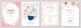 Fototapeta Kwiaty - Birthday floral card set. Vector illustration.