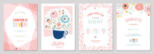 Birthday Floral Card Set. Vect...