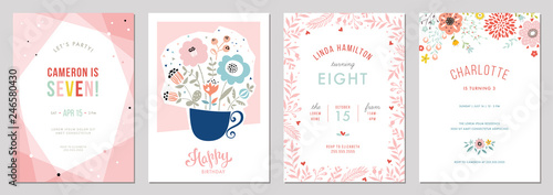 Valokuva  Birthday floral card set. Vector illustration.