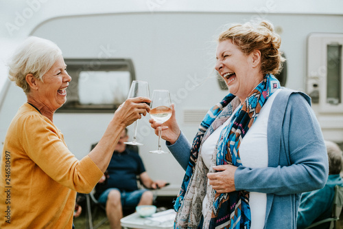 Obraz Happy seniors clinking their glasses together - fototapety do salonu