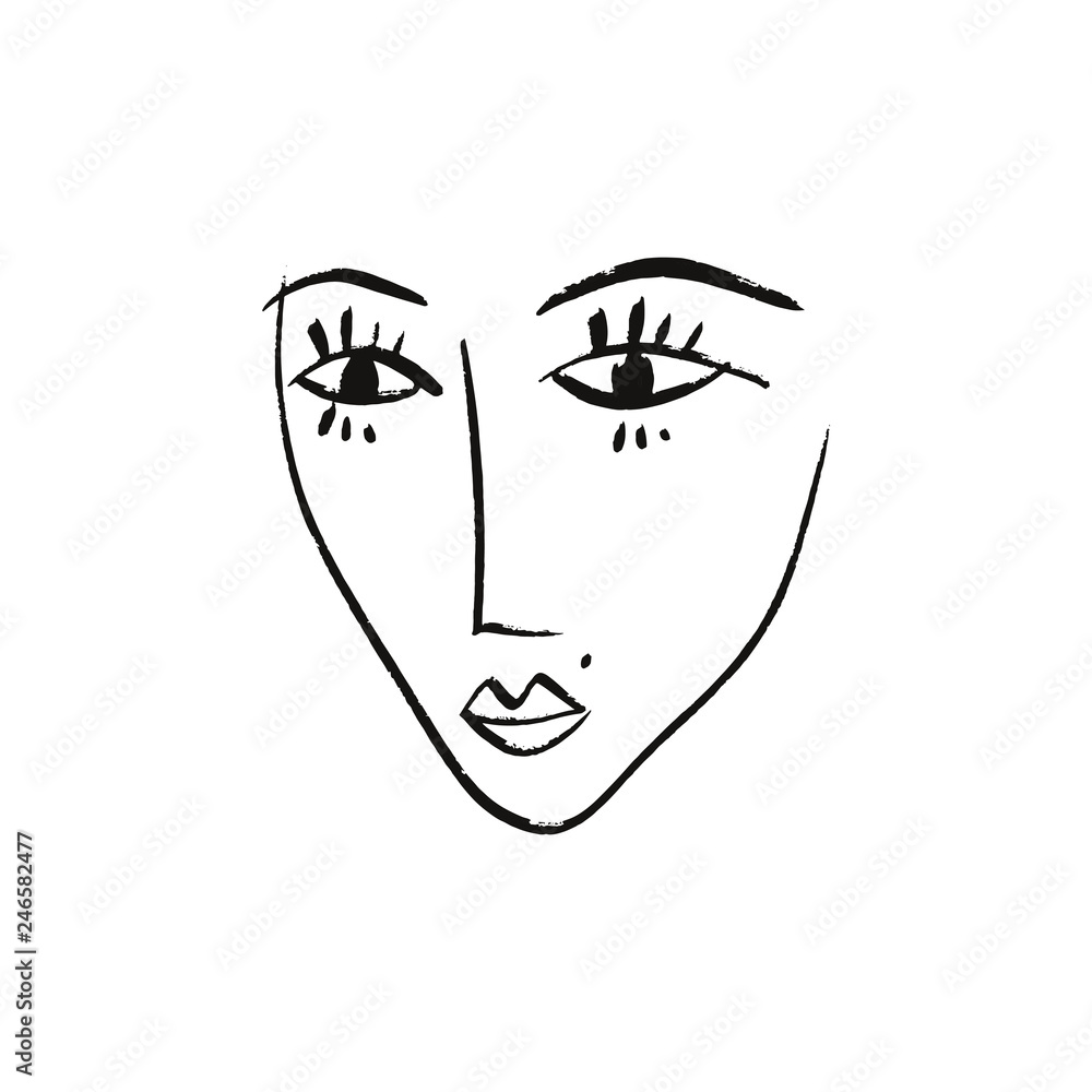Vector simple hand drawn black and white trendy line portrait art. Monochrome print for clothes, textile and other. EPS