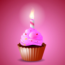 Pink Airy Cupcake With Candles For A Holiday. Vector Illustration
