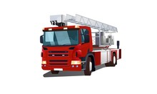 Semi-sided Red Fire Engine Vector Illustration Isolated On White Background For Web And Printing.