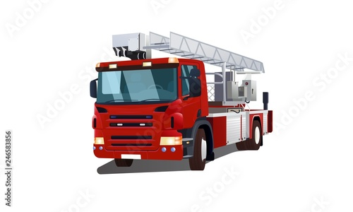 Photographie Semi-sided red fire engine vector illustration isolated on white background for web and printing