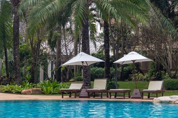 Landscape view of pool bed beside swimming pool