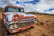 Classic Old Truck In Route 66 In Summer Road Trip
