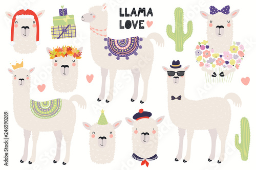 Set of cute llamas, in a crown, autumn leaves wreath, party hat, sailor cap, with flowers. Isolated objects on white. Hand drawn vector illustration. Scandinavian style flat design. Concept kids print