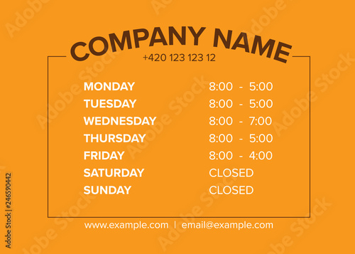 Valokuvatapetti Shop opening time hours vector template