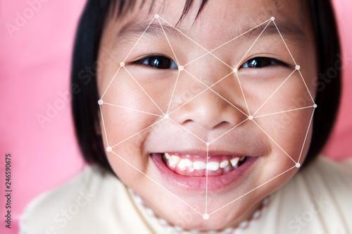 Photo  Facial recognition system concept.