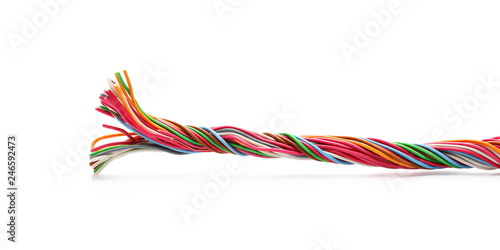 Telecommunication network wires isolated on white background
