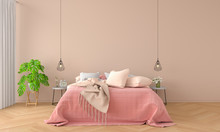 Bedroom Interior For Mockup, Earth Tone Concept, 3D Rendering