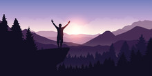 Happy Man With Arms Raised Stands On Top Of A Cliff In Mountain Landscape At Sunrise Vector Illustration EPS10