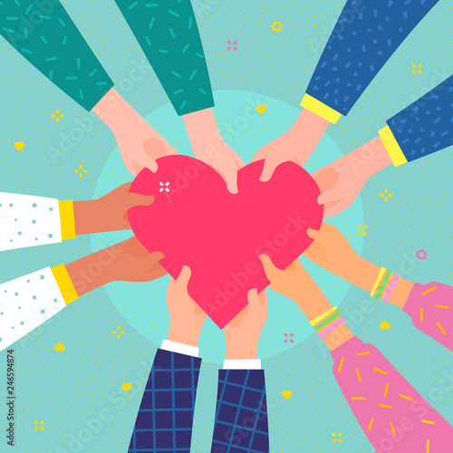 Concept of charity and donation. Several people hold the heart Canvas Print