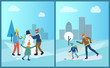 Family sculpts snowman from snow in winter city park vector. People with man made of snow with carrot nose and bucket on head, hockey training father flat style