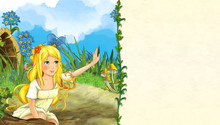 Cartoon Scene With Beautiful Woman On The Meadow - With Space For Text - Illustration For Children