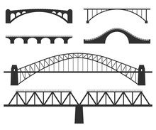 Bridges Silhouette. Set Of Vector Illustrations Isolated On White.