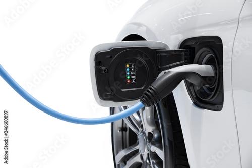 Fotografia Electric vehicle charging isolated on white background