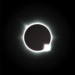 Zaćmienie Słońca. Cień księżyca i aura słonecznej korony. Ilustracji wektorowych.