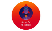 Shoot For The Stars  Motivational Quote With Rocket Ship Illustration