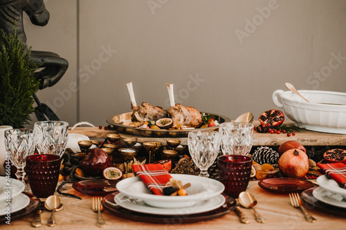 Detail Photograph Of A Table Prepared And Decorated For A Party