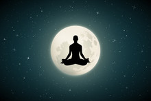 Yoga On Moonlit Night. Vector ...