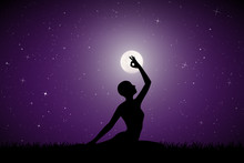 Yoga On Moonlit Night. Vector Illustration With Silhouette Of Yoga Girl On Grass. Full Moon In Starry Sky