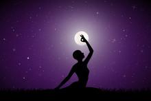 Yoga On Moonlit Night. Vector ...
