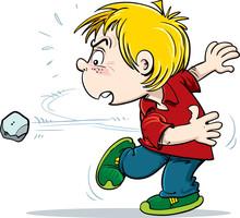 Child Throws A Stone