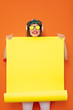 canvas print picture - hipster girl with yellow empty panel
