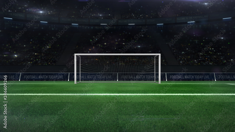 Fototapeta football or soccer goal gate closeup with green grass and fans behind, football stadium sport theme digital 3D illustration design my own