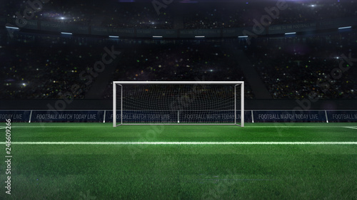 Fototapeta football or soccer goal gate closeup with green grass and fans behind, football stadium sport theme digital 3D illustration design my own obraz