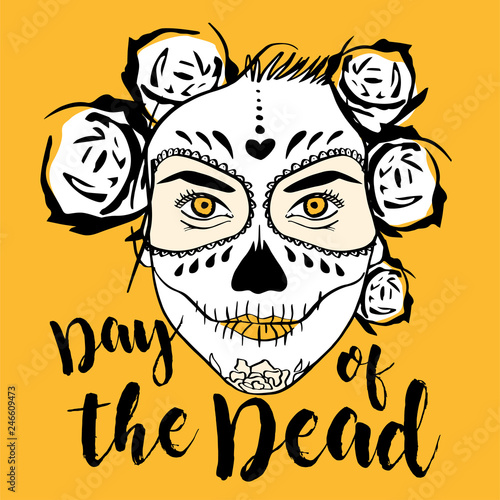 82a84420ba6 Day of The Dead Woman with Sugar Skull Face Paint. Yellow background ...