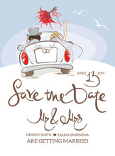 Wedding Invitation. Vector Illustration, Postcard - Bride And Groom In Car