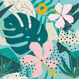 Tropical flowers and palm leaves on background. Seamless. Vector pattern. - 246611651