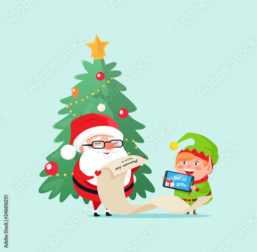 Spoed Fotobehang Voor kinderen Merry Christmas elf helper with Santa Claus checking list with presents vector. Pine evergreen tree decorated with baubles and star on top garlands