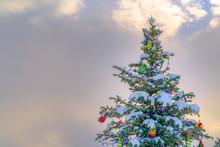 Snow Covered Outdoor Christmas Against Cloudy Sky