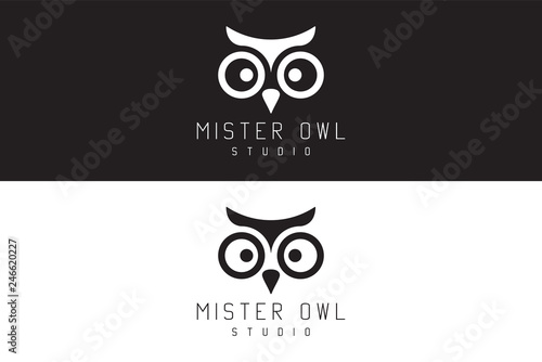 Photo Stands Owls cartoon Mister owl studio. Logo Design.