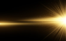 Stylish Golden Light Effect Isolated On Black Background. Golden Glitters. Glowing Star With Sparkles. Glowing Line. Vector Illustration