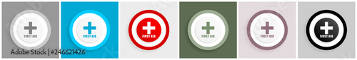 Fotografia  First aid icon set, vector illustrations in 6 options for web design and mobile