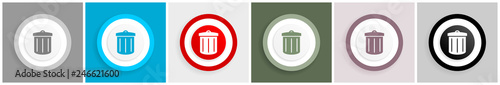 Fotografía Recycle icon set, vector illustrations in 6 options for web design and mobile ap